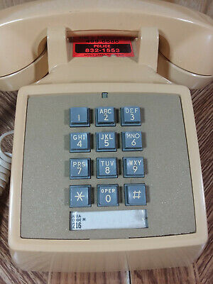 Vintage Bell System Property Push Button Phone Tan Made in USA