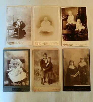 Lot of 6 Antique / Victorian Cabinet Card Photo Portraits Of Babies And Children