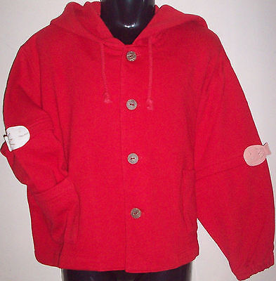 New 100% Cotton Boys Girls Hoodie Hooded Jumper Sweater Small 4-6 Years Red