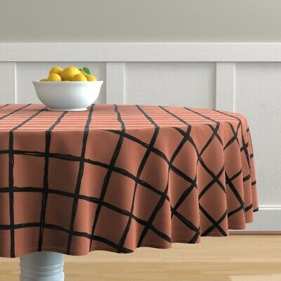 Round Tablecloth Check Geometric Copper Abstract Grid Scandinavian Cotton Sateen