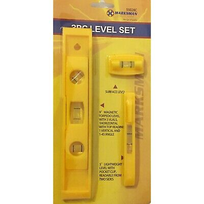"MAGNETIC SPIRIT Level Set 9"" Pocket Sized LIGHTWEIGHT SMALL BRICK LINE Levels x3"