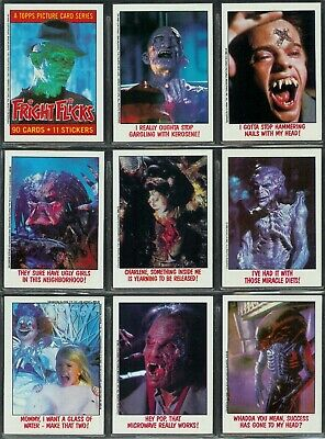 Fright Flicks - For Sale Is A Topps 1988 Trade Card Set + Sticker Set + Wrappers
