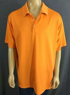ADIDAS Golf Polo Mens 2XL Bright Orange SS Polyester CLIMALITE Textured Athletic