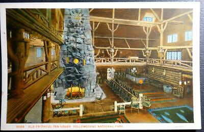 Postcard Old Faithful Inn Lobby Yellowstone National Park Haynes