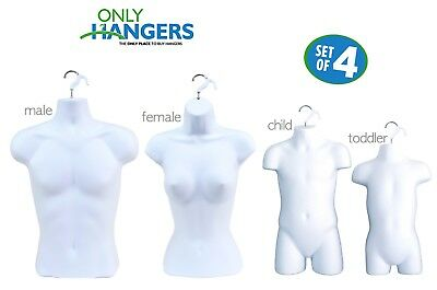 White Female Dress, Male ,Child And Toddler Set - 4 Body Mannequin Forms