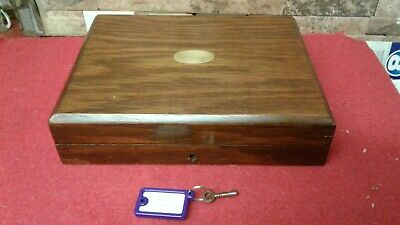 Vintage Oak Document Box + Key   Vgc