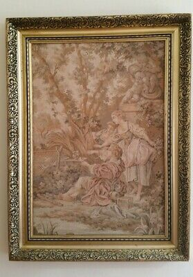 Vintage Embroidery Picture in Gold Frame 74cm X 55cm