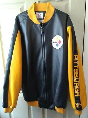 cheap for discount ad230 8e75f NWOT STEELERS LEATHER jacket, Pittsburgh  Steelers,Black/Yellow,Football,Large