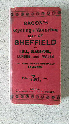 VINTAGE BACONS CYCLING & MOTORING MAP OF Sheffield to Hull,Backpool,London,wales