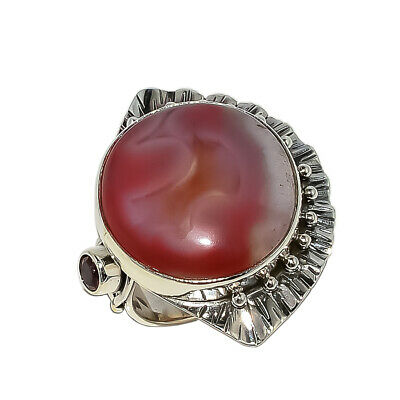 Botswana Red Banded Agate, Garnet Vintage Style 925 Sterling Silver Ring 7.5(13)