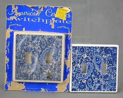 VINTAGE BLUE WHITE Chintz Double Light Switch Plate Cover