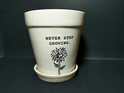 Rae Dunn Planter Never Stop Growing Artisan Collection By Magenta Flower