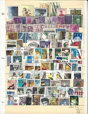 postage stamps lot, US, 175 different mint/used, including $3.21 face, free ship
