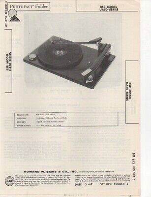 1967 Bsr Us50 Record Player Changer Service Manual Photofact Schematic Diagram
