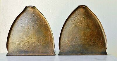 c1910 FRED BROSI Arts & Crafts Hammered Copper Bookends San Francisco Mission