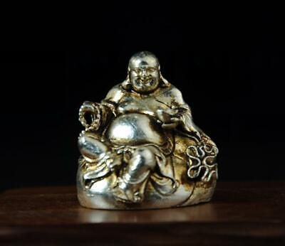 Chinese old collection cooper-plating silver Maitreya Buddharupa statue a01
