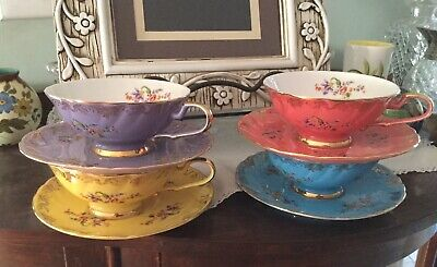 Set Of Four T2 Tea Cups And Saucers Harlequin Colours