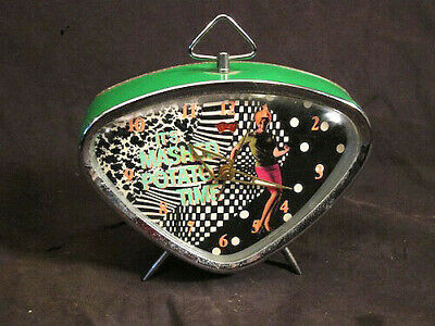 vintage mid century alarm clock 1960s boomerang it's mashed potato time