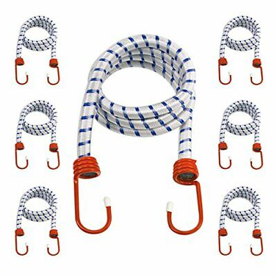 "6-Pack Heavy Duty 48"" Bungee Cords - 1/2-Inch Diameter Cord - Coated Steel Hooks"