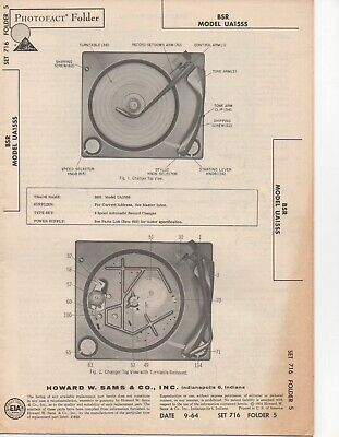 1964 Bsr Us15Aa Record Player Changer Service Manual Photofact Schematic Repair
