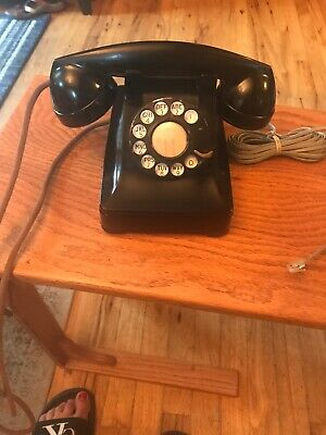 Vintage Western Electric Company F1W Black Rotary Dial Desk Deco Telephone 1940s