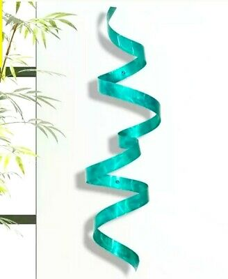Teal Blue Metal Wall Sculpture Hanging Modern Abstract 3D Art Decor Jon Allen