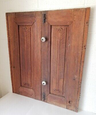 Antique Middle Eastern Hand Carved Wood Shutters