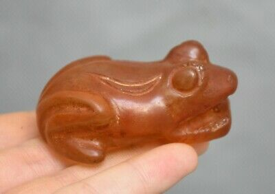 6CM Ancient Hongshan Culture Old Red Crystal Carved Feng Shui Frog Animal Statue