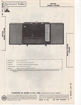 1966 Philco P1511Br Record Player Changer Amplifier Service Manual Photofact Fix