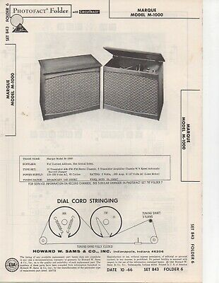 1966 Marque M-1000 Radio Record Player Amplifier Service Manual Photofact Fix