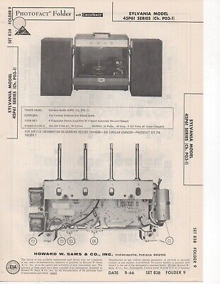 1966 Sylvania 45P61 Record Player Changer Amp Service Manual Photofact Schematic