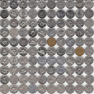 ( 107) Different Canadian 5c Coins - 1922 to 2019