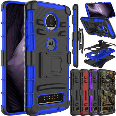 For Motorola Moto Z4 / Z4 Play Case Shockproof Armor Cover With Belt Clip Stand