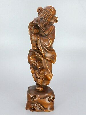 Chinese Exquisite Hand-carved people Carving Boxwood statue