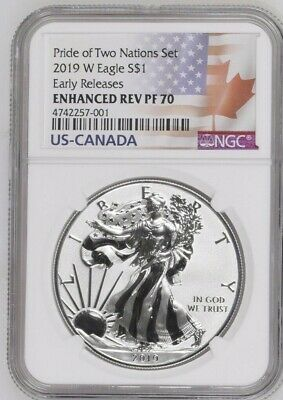 2019 W $1 Enhanced Reverse Proof Ngc Pf70 Er Silver Eagle Pride Of Two Nations