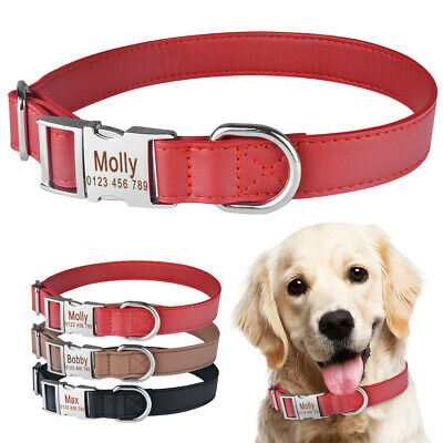 Personalized Dog Collar Soft Padded Leather Durable Name Engraved Boy Girl Dogs