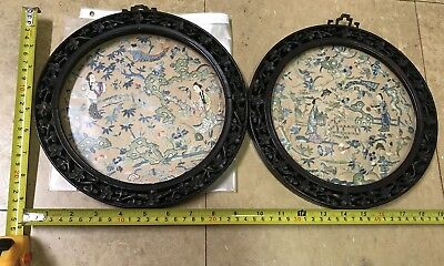 Antique Chinese Silk embroidery Pair With Carved Wood Frame Decor Embroidered