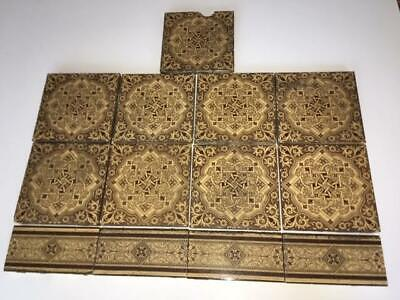 Lot of 13 1800's Antique Minton China Works Tiles Stoke On Trent, Aesthetic Mvmt
