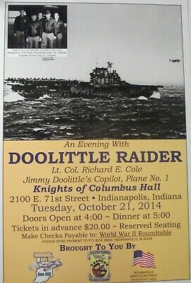 Doolittle Raiders POSTER Evening with Col Cole AUTOGRAPHED