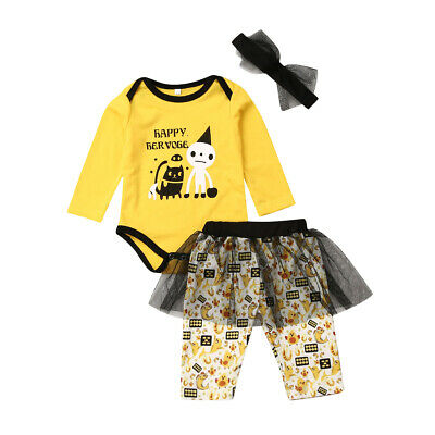 Happy Halloween Newborn Baby Girls 3PCs Outfit Sets Romper+Tutu Dress Outfits