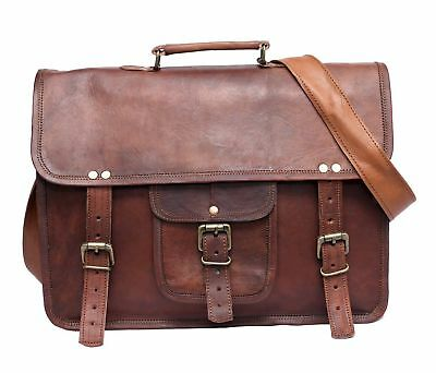 Vintage Leather Satchel Messenger Bag 15 In Laptop Briefcase Office Shoulder Bag