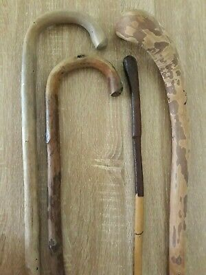 Three Vintage Wooden Walking Sticks, One Bamboo with Leather Wrapped Handle