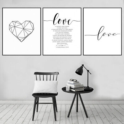 Nordic Letters Love Heart Canvas Poster Picture Living Room Home Art Decor