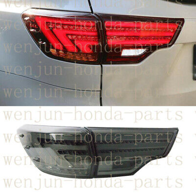 1 Pair Tail Brake Light Assy LED Smoked Black Refit For Toyota Highlander 14-16