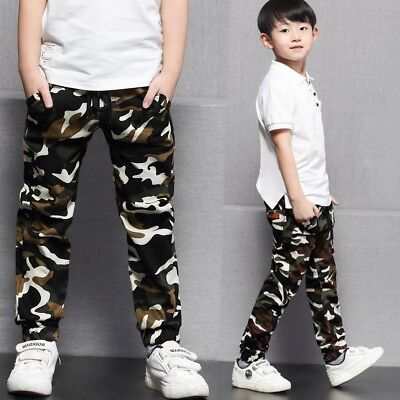 Kids Boys Girls Cotton Clothing Clothes Pants Boy Camouflage Trousers Bottoms
