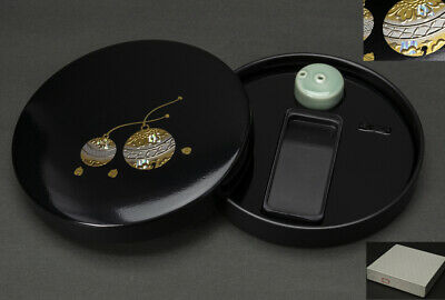 Japanese Lacquerware Inkstone case , pottery Suiteki  Suzuribako Makie works