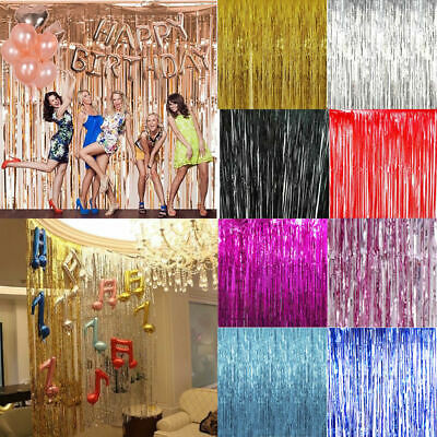 2M Self Adhesive Foil Fringe Tinsel Shimmer Curtain Wedding Birthday Party Door