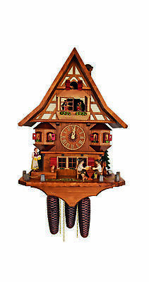 Cuckoo Clock Black Forest house with moving beer drinkers SC 8TMT 3500/9 NEW