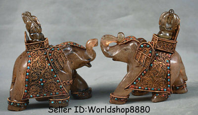 "5.6"" Antique Old Tibet crystal filigree Inlay Gem Animal Elephant Statue Pair"