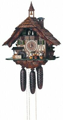 Cuckoo Clock Black Forest House, 2 Beer Drinkers, moving mi.. SC 8TMT 5523/9 NEW